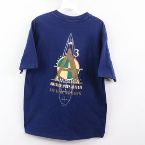 90s Mens Medium 1992 Americas Cup Sailboat T Shirt